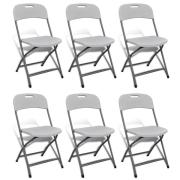 NOMA! 6 salokāmi krēsli, balti krēsli pasākumiem UZ NOMU