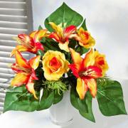 NOMA! Ziedu kompozīcija LILIJAS no mākslīgajiem ziediem, ziedu buķete uz galda