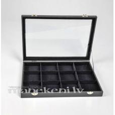 Kastīte ar aizveramu stikla vāku gredzeniem, kolekcijai BOX7100, melna