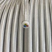 Vintage retro kabelis, ar austu teksilmateriāla izolāciju, 3-dzīslu kabelis 3x0,75, sudraba, tek.metrs