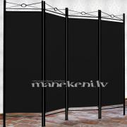 Melns metāla garderobes aizslietnis, paravents, telpas sadalītājs