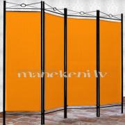 Oranžs metāla garderobes aizslietnis, paravents, telpas sadalītājs