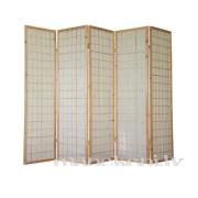 Brūns koka garderobes aizslietnis ar rīspapīru, 5-daļīgs paravents, telpas sadalītājs
