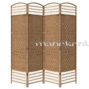 Brūns bambusa garderobes aizslietnis, 4-daļīgs paravents, telpas sadalītājs