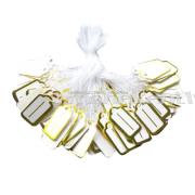 Etiķetes, cenu zīmes, juvelieru izstrādājumiem / 26x13mm / 100 gab. / Gold, ar aukliņām