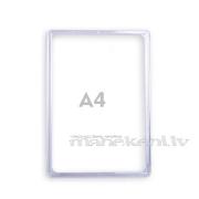 Plastikāta rāmis A4, informācijas turētājs, caurspīdīgs orgstikla rāmītis