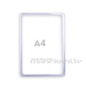 Plastikāta rāmis A4, informācijas turētājs, caurspīdīgs