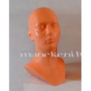 Dekoratīva manekena galva, cepuru, briļļu displejs, brūna DSPH-008-BR