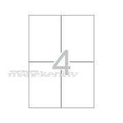 4 uzlīmju sagatave uz A4 loksnes, baltas uzlīmes